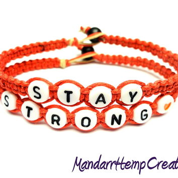 Stay Strong Bracelet Set, Red Macrame Hemp, Made to Order