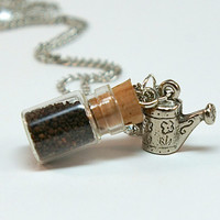 Mini Bottle Necklace with Seeds- Micro Mini Apothecary Bottle Filled with Seeds, Watering Can Charm