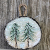 Artisan crafted Woodland Christmas Ornament  Natural Driftwood Slice Rustic Holiday Decoration