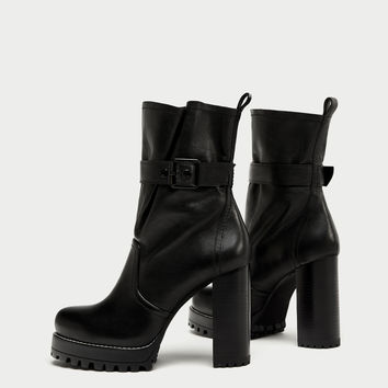 LEATHER HIGH HEEL ANKLE BOOTS WITH BUCKLE DETAILS