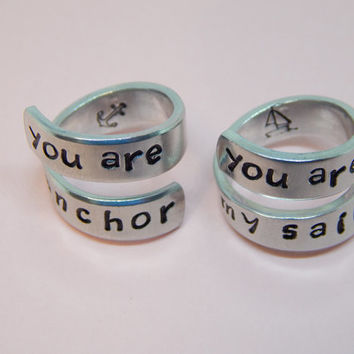 You Are My Anchor, You Are My Sail, Spiral Rings Set, Lovers Gift, Handmade