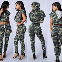 Women's fashion casual summer sports suits camouflage suit
