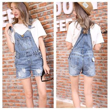 Fashion Casual Female Worn Ripped Tassel Sleeveless Back Strap Romper Jumpsuit Shorts Jeans