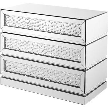 "Modern 39.5"" Crystal 3-Drawer Cabinet, Clear Mirror Finish"
