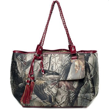 Realtree  camouflage tote bag w/ coin purse & tassels - camouflage/ red Color: Camouflage/ Red