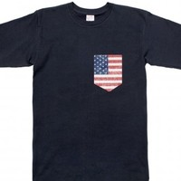 USA America Pocket Tee Shirt-Unisex Navy T-Shirt