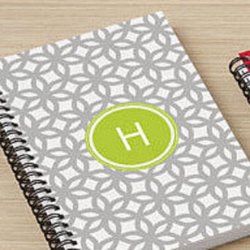 Personalized Monogram Gray and Lime Green Design Spiral Notebook for Writing
