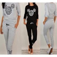Animal Print Long Sleeve Drawstring Jumpsuit