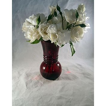 Ruby Red Vintage Anchor Hocking Vase