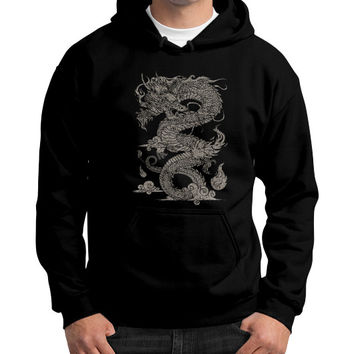 Vintage Ancient Chinese Dragon (On Dark) Gildan Hoodie (on man)