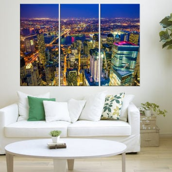 Large new york skyline wall art print, new york canvas Print, extra large canvas art, new york skyline night modern wall art canvas  9s04