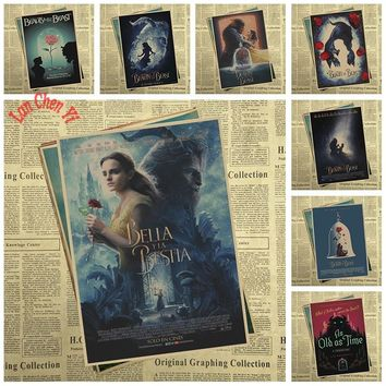 Fantasy love movie Beauty and the Beast Kraft Paper Poster Vintage High quality Printing Drawing core Decorative Painting