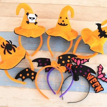 Ynaayu 1pcs Halloween Hairbands Yellow Pumpkin Hair Accessories Bat Boutique Halloween Party Supply