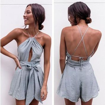 Urban Outfitters Fashion Sleeveless Backless Hollow Halter Waistband Romper Jumpsuit Shorts