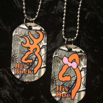 Her Buck & His Doe Dog Tag Set