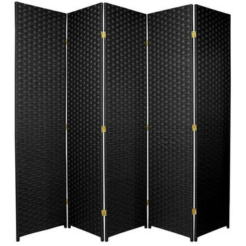 Oriental Furniture SSFIBER-5P-BLK Six Ft. Tall Woven Fiber Room Divider Five Panel Black, Width - 85 Inches