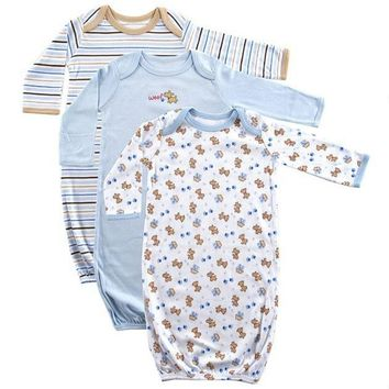 Luvable Friends Baby Boys' and Girls' Gowns, 3-Pack