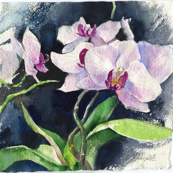 Purple orchid watercolor - original purple flower painting on dark background paper