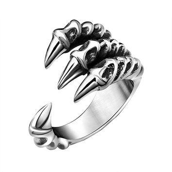 2018 New Arrival Cool Halloween Festival Stainless Steel Dragon Claw Rings for Men and Women