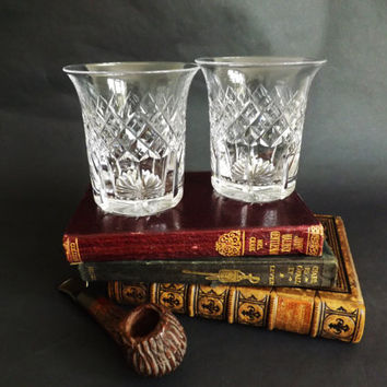 Vintage Crystal Whiskey Tumblers, Pair Whisky Glasses, Old Fashioned Low Ball Cocktail, Cut Crystal Barware, Home Bar, Christmas Man Gift