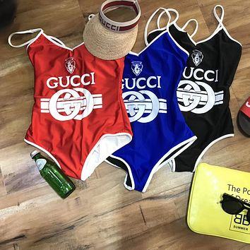 GUCCI SWIMMER SWIM TAN TOP VEST SHIRT V NECK WOMEN LETTERS BOTTOMING CLOTHES