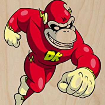 'Plumbers League of America' Lightning Fast Gorilla Character Funny Video Game & Super Hero Team Parody - Plywood Wood Print Poster Wall Art
