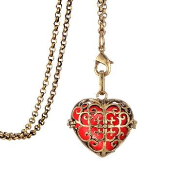 Clearance women perfume love locket heart jewelry essential oil diffuser necklace charms flowers