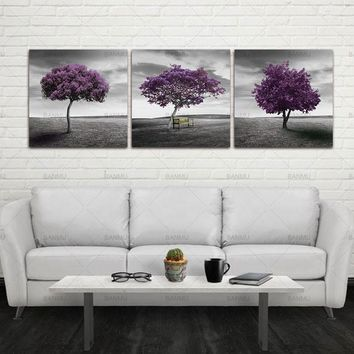 canvas 3 Piece Free Shipping Modern Wall Art Home Decoration Purple Tree Large Living Room Oil Painting Picture on Canvas Prints