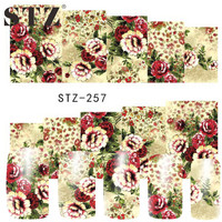 STZ 1 Sheets Nail Art Sticker New Beautiful Flower Printing Polish Manicure Pedicure Tools of Water Transfer Charm Decals STZ257