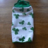 Hanging Shamrock Kitchen Towel With Hand Knit Topper and Ties