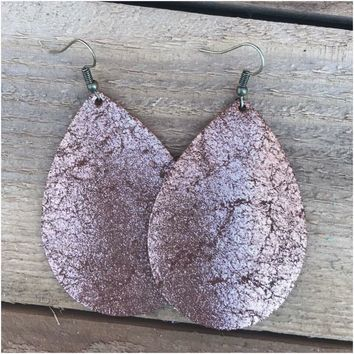 Cracked Copper Leather Earrings