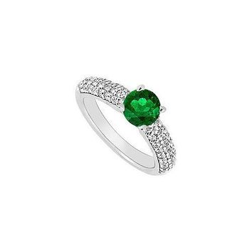 14K White Gold : Emerald and Diamond Engagement Ring 1.10 CT TGW