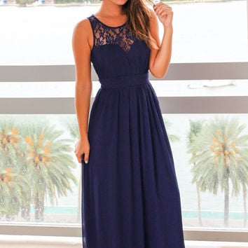 Navy Maxi Dress with Pleated Lace Top