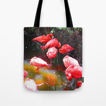 HOT PINK FLAMINGOS Tote Bag by Digital Effects