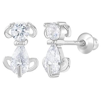 925 Sterling Silver Clear CZ Dog Doggy Screw Back Earrings for Girls Toddlers