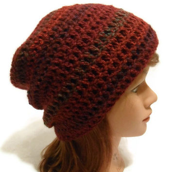 Crochet Ombre Slouchy Beanie Hat in Dark Red Medium