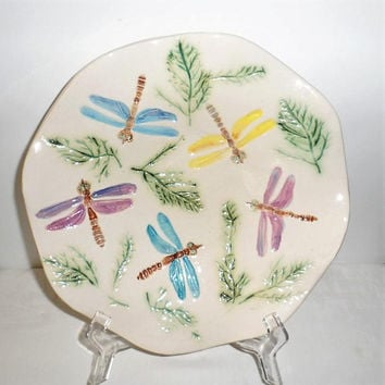 1980's DRAGONFLY Hand Made-Hand Painted and Glazed Ceramic Fluted Edge Fruit or Candy Dish/Vintage Dragonfly Ceramic Fruit Dish or Bowl