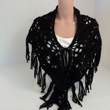 Handcrafted Wrap Shawl Black Silver Fringes Merino Wool Stellina Mix Female -- New No Tags