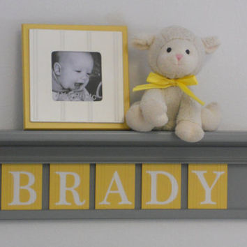 "Yellow and Gray Nursery Wall art - Yellow Baby Boy Nursery Decor - BRADY - Personalized 24"" Grey Shelf 5 Wooden Wall Letters"