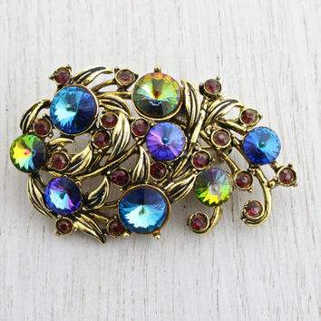 Vintage Signed Hollycraft Rhinestone Brooch - Large Gold Tone Purple, Blue, Green Glass Stone Costume Jewelry Pin / Colorful Vine