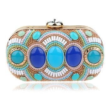 NEW European beaded women evening bags acrylic small purse bags vintage evening dress handbags