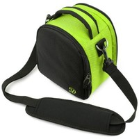 Laurel Compact Edition Lime Green Nylon DSLR Camera Carrying Handbag with Removable Shoulder Strap for Canon EOS DSLR Camera Model EOS-600D / EOS Rebel T3i / EOS Kiss X5 / EOS-1100D EOS Rebel T3 / EOS Kiss X50 / EOS 550D / EOS Rebel T2i / EOS Kiss X4 / EOS