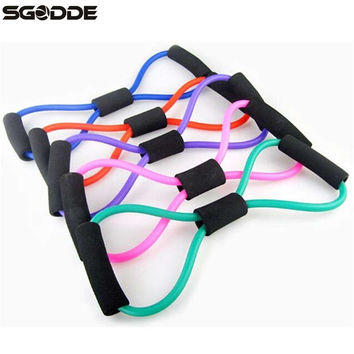 Yoga Resistance Bands Tube Sport Exerciser Fitness Expander Training 8 type Elastic Rope Pull Workout Tube for Bodybuilding