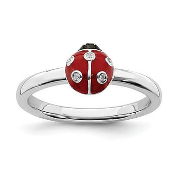 Sterling Silver Stackable Expressions Red & Black LadyBug Diamond Ring