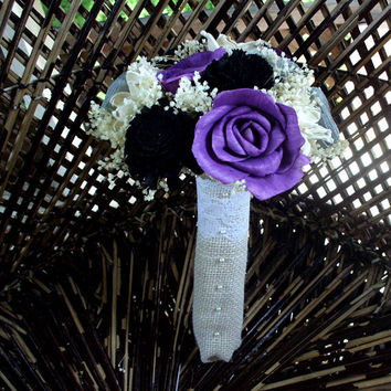 Purple black and grey bridal bouquet | Sola bouquet | rustic bouquet | Rustic wedding | Dried flower bouquet | Keepsake bouquet | Luxe