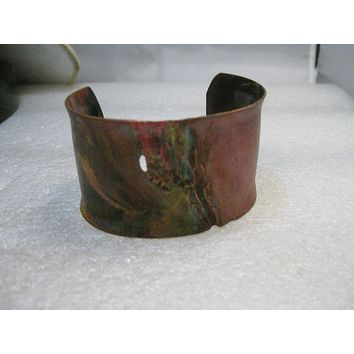 "Copper Brutalist Cuff Bracelet, Boho, Hand Made, 1.5"" wide, 7.25"", post mid-century"