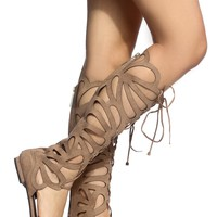 Natural Faux Suede Cut Out Gladiator Knee High Sandal @ Cicihot Sandals Shoes online store sale:Sandals,Thong Sandals,Women's Sandals,Dress Sandals,Summer Shoes,Spring Shoes,Wooden Sandal,Ladies Sandals,Girls Sandals,Evening Dress Shoes