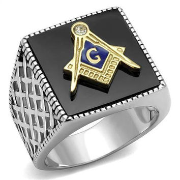 Masonic Jet Agate - FINAL SALE Stainless Steel Agate Masonic Ring