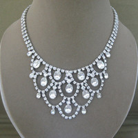 Vintage Rhinestones Waterfall Necklace