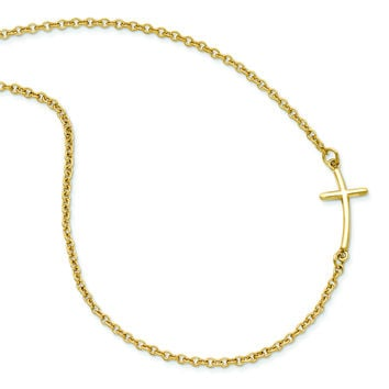 Sterling Silver Yellow Gold-plated Small Sideways Curved Cross Necklace QG3465Y